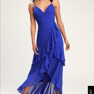Lulus Cobalt Blue Ruffled Maxi Dress